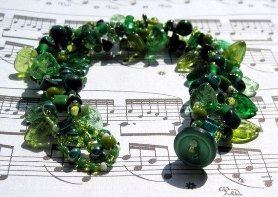 Green Rock Garden Beadwoven Bracelet