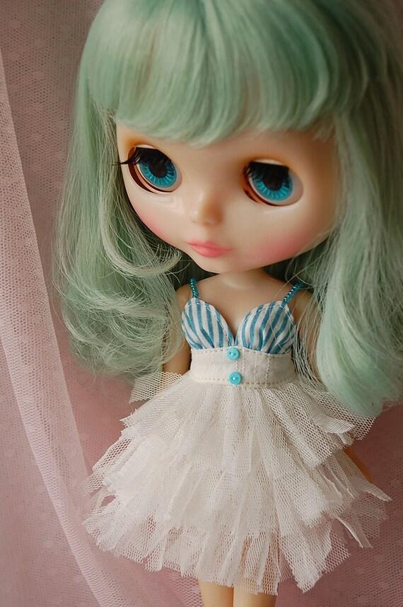 Blythe sexy lace dress.....blue and white stripe