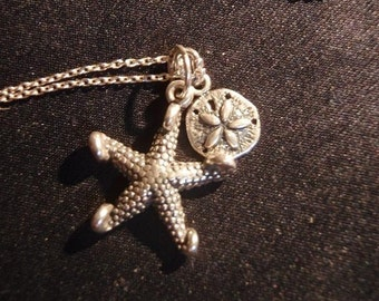 Starfish and Sand Dollar Necklace - sterling silver