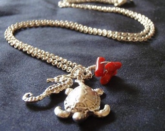 Sea turtle-Seahorse-Red Coral sterling silver necklace