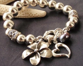 Frangipani with Love sterling silver charm bead bracelet