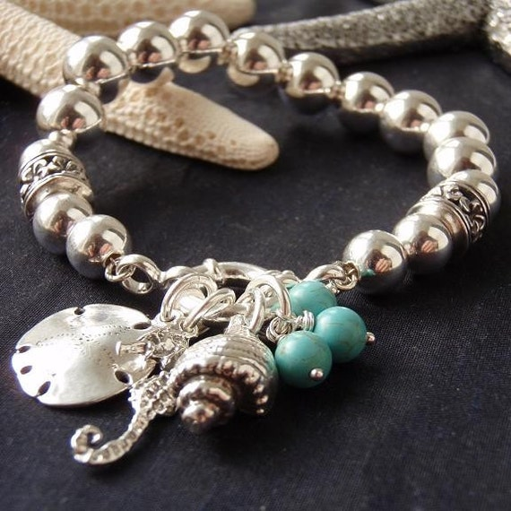 Sand dollar Seahorse Seashell natural turquoise sterling silver bead bracelet