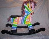 wooden rocking rainbow zebra