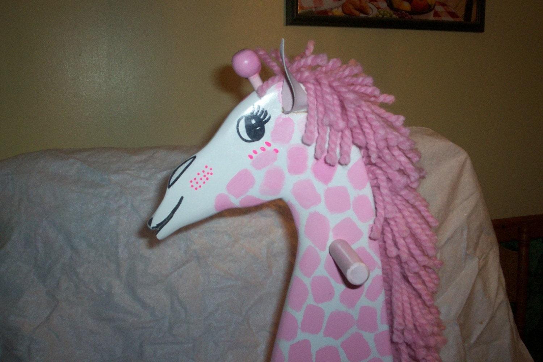 Pink Wooden Rocking Giraffe