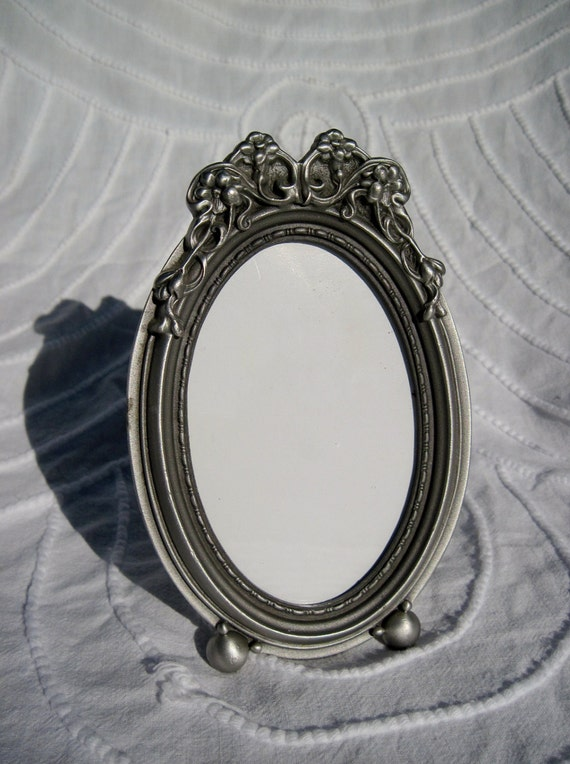Oval Art Nouveau Pewter Picture Frame