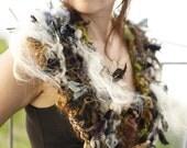 assymetrical collar scarf handspun hand crocheted recycled sari silk wool mix yarn