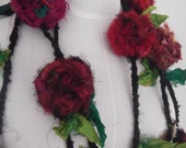 recycled sari silk red rose necklace lariat or belt hand crocheted by plumfish