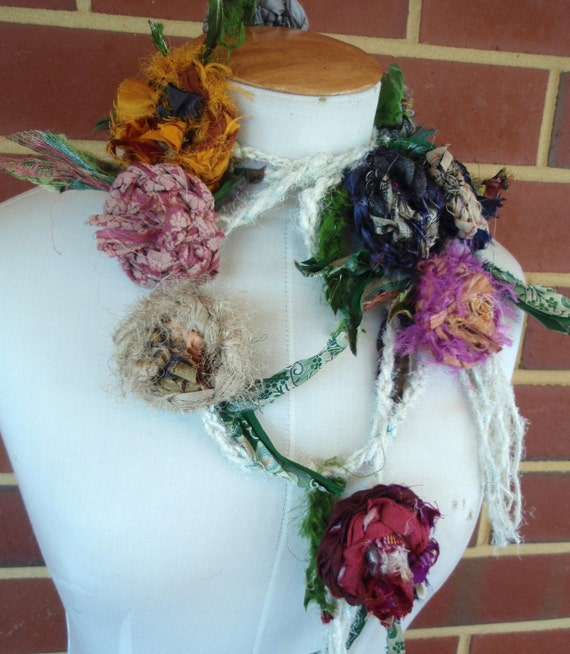 hand crocheted recycled sari silk  rose  lariat  necklace or belt