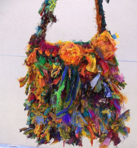 Recycled Sari Silk  Very Raggy Sunshine Rainbow Ribbon Bag  Hand Crocheted by plumfish
