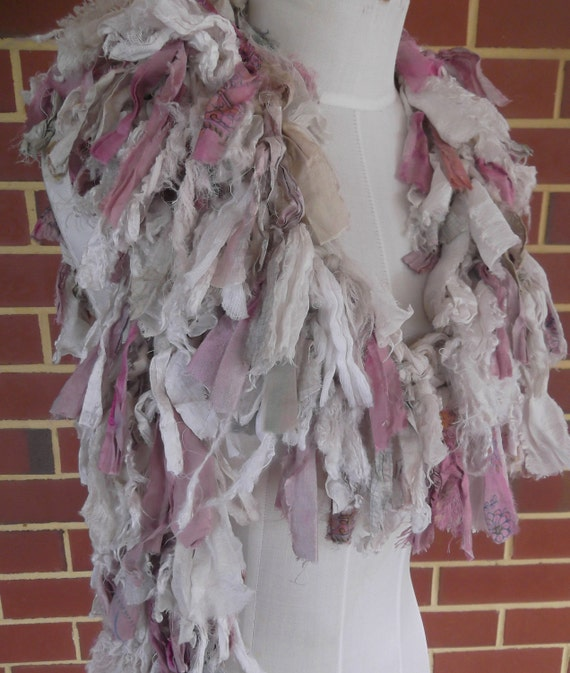 Distressed Recycled Sari Silk Scarf Dusty Pinks Ivory Cream