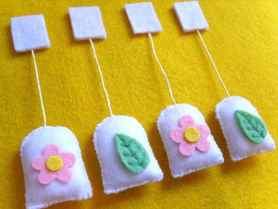 Flower and Green Tea Teabags, Tea Party, Kitchen Play Pretend Food