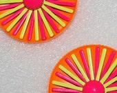 Vintage Mod Earrings Neon Orange Pink Yellow