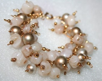Gypsy Bracelet From Vintage Beads Golden Pink Champagne  Lucite Boho Repurposed Recycled