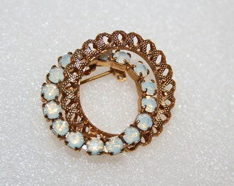 Vintage Brooch Moonstone Rhinestone Sweetheart Filigree