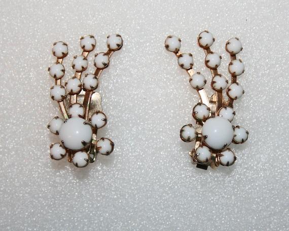 Vintage Earrings White Comets Fireworks 1950s