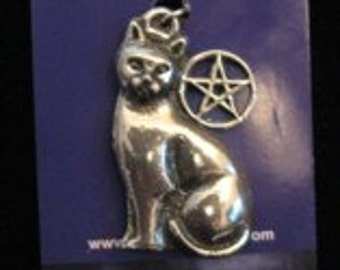 One Silver Pewter Cat Pentacle Pentagram  Pendant Necklace