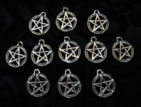 American made 10 Silver Pewter Pentacle Pentagram Charms