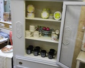 Pale Grey Vintage China Cabinet