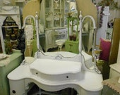 A M A Z I N G   1920's Vanity with Beautiful Mirror and Curved Bottom Cabinets