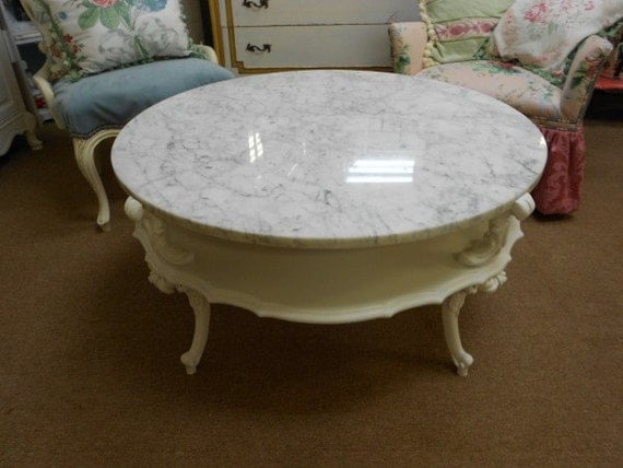 Marble Top Round French Provincial Coffee Table