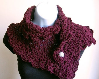 Midnight Moon Cowl in Beautiful Burgundy. Women Accessories Crochet Scarf Cowl
