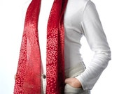 Red Silk Scarf with pebble pattern