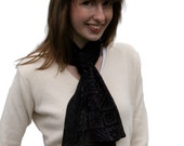 Jet Black Silk Scarf with Funky Squares Pattern