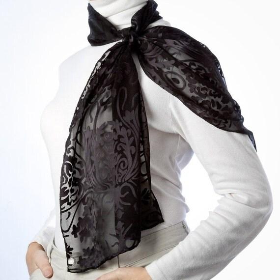 Jet Black Silk Scarf with Art Nouveau Pattern