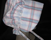 Girls Bonnet - Pastel Plaid - Upcycled from Men's Dress Shirt