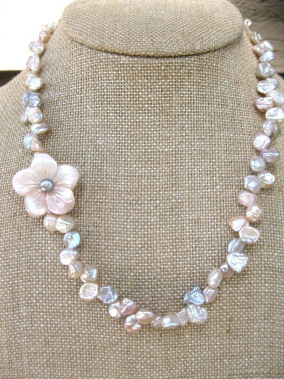 keshi pearl flower blossom necklace