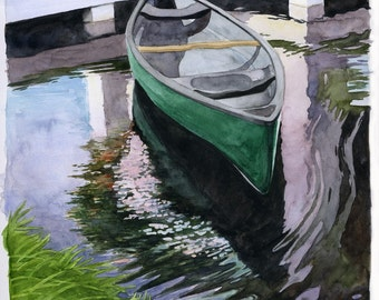 """Canoe in the Lake Watercolor Print """"Boat Reflections"""""""