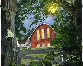"Barn with Moonlight and Luna Moth Print ""Summer Moon"" (14"" x 14"")"