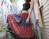 Vintage 70s Bohemian Beauty Tiered Patchwork Skirt