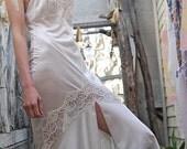 RESERVED FOR NIKKIFAITH Vintage 40s Snow White Lacey Satin Boudoir Maxi Slip Dress