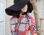 Vintage 60s Geometric Daisy Floral Crop Summer Tie Folk Americana Blouse