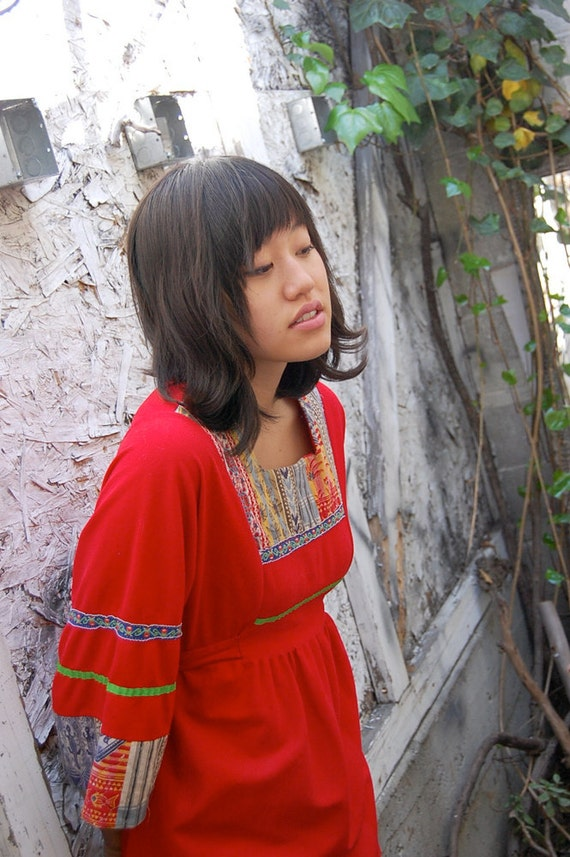 Vintage 70s Red Quilted Santa Fe Boho Baby Doll Tunic Blouse