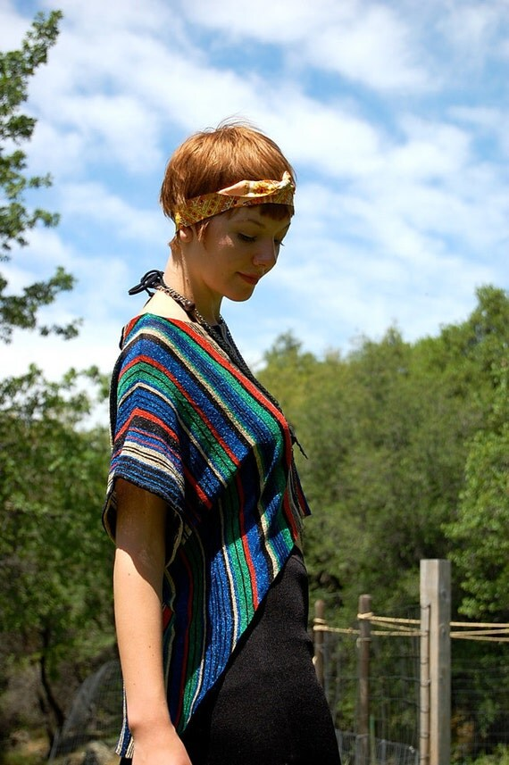 Vintage 80s Rainbow Metallic Striped Slouchy Fishtail Hipster Crop Top