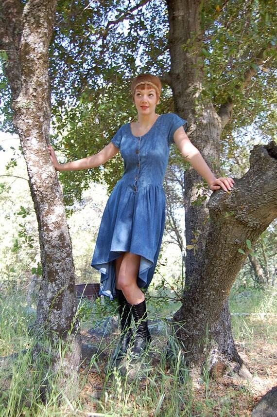 RESERVED for Romyn Vintage 80s Blue Denim Bohemian Prairie Fishtail Maxi Dress