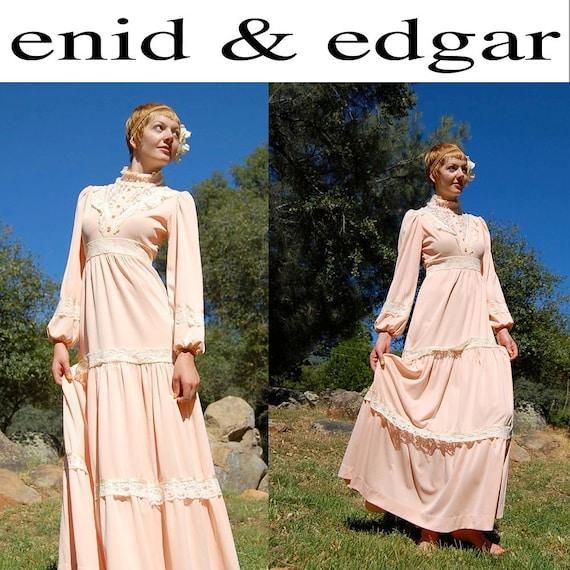 Vintage Maxi Dress 70s Peach Lace Victorian Prairie Bohemian