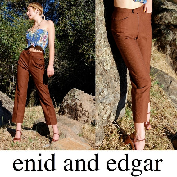 Slim Cigarette Pant Vintage 60s Chocolate Textured Rockabilly Slim Cigarette Pant (xs s)