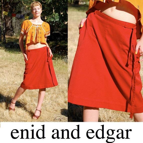 RESERVED RESERVED  ... Red Wrap Skirt Vintage 60s Dark Red Summer Wrap Around Folk Americana Skirt