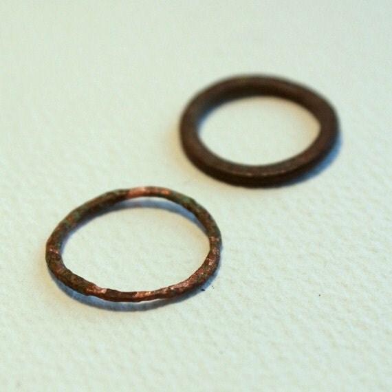 Copper Rings Found on Beach, Metal Rings 1'' Diameter, Sea Ocean Patina