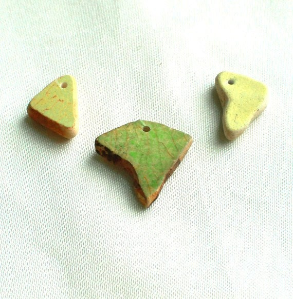 Genuine Beach Pottery, Green Sea Pottery Pendant Sized, Drilled Beads
