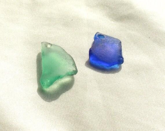 Genuine Beach Sea Glass, Large, Drilled Turquoise and Blue Seaglass, Sea Glass Pendants