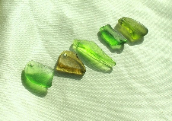 Genuine Beach Sea Glass in Rare Green Shades, Drilled Pendants Sized Sea Glass Beads