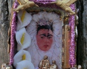 """Matchbox Altered Art Shrine: """"Frida Loves Diego In Pink""""  Free Shipping"""