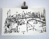 The Ranch - original ink drawing: loose California travel sketch on Moleskine Notebook paper