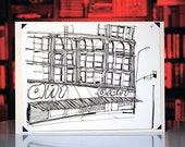 original Los Angeles ink drawing of retro city architecture: THE GIANT