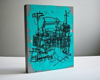 SATURDAY | bold line art of city buildings construction site in teal and gray on reclaimed wood, original artwork by Kathryn DiLego