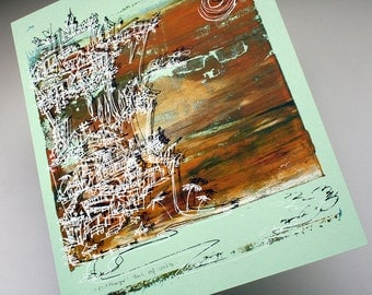 CLIFFHANGER beach cityscape in fall colors | autumn brown, pale gold and forest green on mint | unique serigraph by Kathryn DiLego